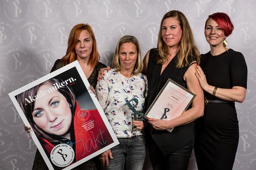 Sandra Johnson (formgivare), Åsa Bolmstedt (chefredaktör), Kajsa Isenberg (AD) och Madeleine Bäck (VD) från A4 Text & Form. FOTO: Fredrik Stehn
