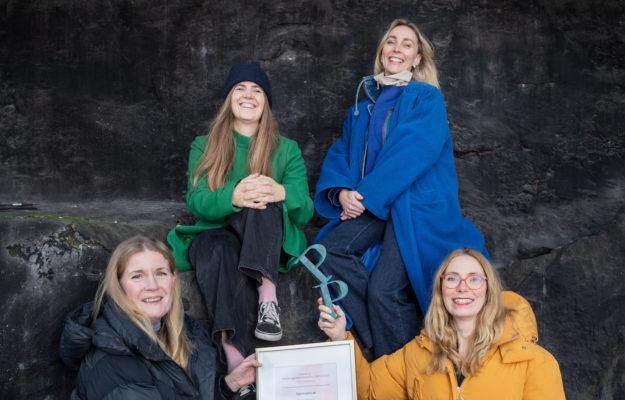 """Från vänster: Helena Lindroth (Operan), Nanna Bergh (Doberman), Catarina Falkenhav (Operan) och Elin Ankerblad (Doberman) är några av de som står bakom """"Operanplay.se"""" som vann Publishingprisets Grand Prix Webb 2020. Foto: Stina Stjernkvist"""
